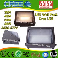 Wholesale Oversea warehouse stock CREE LED W W led wall pack Outdoor Wall Mounted light Pure white K meanwell driver DLC ETL Listed ac85 V