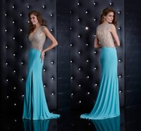 Wholesale Sparkly Mermaid Evening Gown Sexy V Neck Gorgeous Back Chapel Train Ruffles Crystal Beads Side Slit Chiffon Prom Pageant Dresses