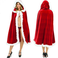 adult cloaks - European and American trade sexy women fun adult Christmas cloak cosplay costume red fur collar cloak