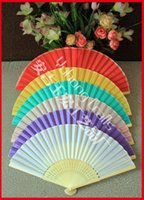 bamboo hand craft - Wedding Hand Fans Single Side Imitation Silk Folding Bamboo Fans Pure Color Craft Fans For Party Or Birthday