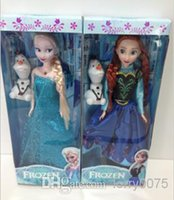Wholesale 11 inch musical Frozen Doll Anna and Elsa with Olaf with music quot let it go quot toys gift for kids baby