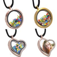 Wholesale glass floating locket golden silver rose golden heart crystal floating locket DIY stainless steel glass floating locket necklace pendant