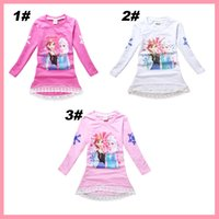 cotton clothing for children - Girls Frozen Lace Terry T Shirt New Y Y Cotton Princess Lace Elsa Anna T Shirt Top Children Cartoon Clothing For Autumn Winter