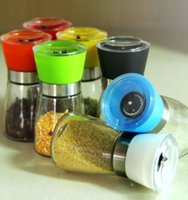 Wholesale Height cm Quality newest Classical Glass Oak Pepper Spice Salt Corn Mill Grinder Muller candy colors WSWJ