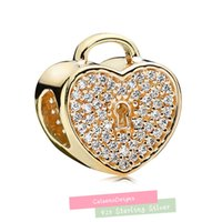 diy - luxury k Gold padlock Charm with Cz sterling silver loose beads charms fit bracelet DIY fine jewelry CE665