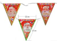 Wholesale APKKCA days Arrive Christmas Triangle Flags Hanging Flags Colorful Paper Christmas Decorations Ornaments Bar Hall Decoration x27cm