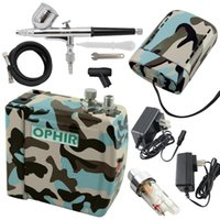 Wholesale OPHIR Blue Camouflage mm Adjustable Airbrush Kit with Mini Air Compressor for Temporary Tattoo Hobby _AC003BF BF