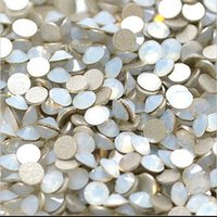 glue on nails - 1440pcs pack ss6 mm White Opal Flat Back Nail Art decorations crystal Glue On Non Hotfix rhinestone for nails