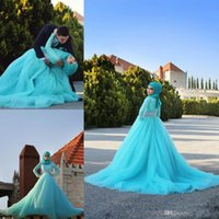 Wholesale Wedding Dresses New Designer Long Sleeve High Neckline Sky Blue Tulle Lace Crystal A Line Bridal Gowns Vestido De Noiva Muslim