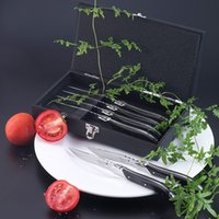 Wholesale New Arrival inch Laguiole Style Knives Piece Black Wooden Handle Steak Knife set Christmas knives gift Restaurant