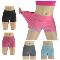 Wholesale Women Fitness Shorts Solid Color Seamless Stretched Sports Gym Yoga Running Training Short Pants Elastic Mid Waist Athletic Apparel