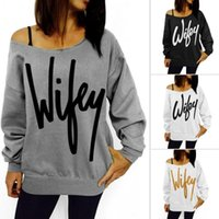 Wholesale Harajuku Women Thin Sweatshirt Fashion Wifey Letters Printed Pullover Sexy Slash Neck Hoody Solid Gray White Loose Shirt CW01379