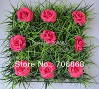 Wholesale 40 pieces artificial long grass mat boxwood mat with silk rose flowers of different colors