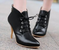 Cheap Women's pointy toe ankle boots women fashion sexy stiletto boots Martin boots black beige brown straps rain boots women