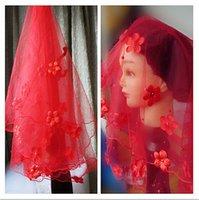 ... Edge Custom Color Bridal Veils Mantilla+Comb Finger Length Red W205