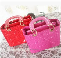 Wholesale New fashion Children Handbag Kids Girl Putent Leather Lattice Pattern Princess Crossbody Bag Cute Party Bags