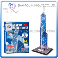 banks architectures - Mini Qute Bank of China Tower building world architecture d paper diy model cardboard puzzle educational toy NO G268