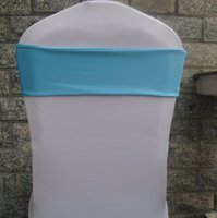 Wholesale Blue Double Layer Cheap Spandex Lycra Chair Cover Band Without Buckle For Wedding Decoration