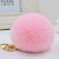 Wholesale High Quality Rex rabbit Fur Ball Keychains Handbags bags Pendant Key rings Cell Phone Car chain Soft plush fashion accessories for women