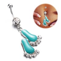 Navel & Bell Button Rings aqua barbells - Lovely Aqua Feet Dangle Belly Ring L Surgical Steel Body Piercing Button Barbells Jewelry