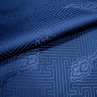 Wholesale Dark blue grey local Chinese wind meander xiangyun brocade fabric silk satin fabric costume half a meter