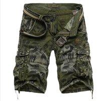 cargo shorts - Summer Camouflage Cargo Shorts Men Multi Pockets Overalls Army Camo Short Casual Loose Bermuda Masculina Mma Gym Running Shorts