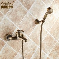 antique crocks - Retro faucet Antique copper bath crock bibcock all Into the wall hot and cold shower High quality villa and hotel faucets