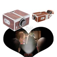 Wholesale Portable Brown Retro Smartphone Projector Cardboard Glass Lens DIY Cellphone Movies Cinema Optical Resolution x DPI