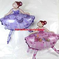 ballet film - 10pcs cm high quality balloons dancing girls Ballet pink balloon girl aluminum film ballons
