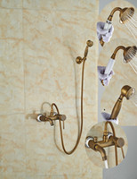Wholesale And Retail Antique Brass Wall Mounted Bathroom Rain Shower Faucet Head Faucet Tub Spout Mixer Tap