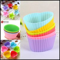 Wholesale Silicone Cake Moulds Jelly Molds Colorful Muffin Cup Cake Moulds FDA SGS Non toxic Tasteless Non stick Bakeware Cupcakes Round Heart Star