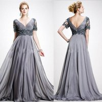 water beads for wedding - Elegant Beaded Mother Of The Bride Dresses Plus Size V Neckline Backless Evening Gown Chiffon Pleated Occasions Dress For Wedding