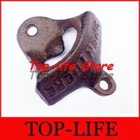 Wholesale 200pcs Wall Mounted Bottle Opener with Open Here Mark Made of Heavy Rustic Cast Iron Metal Material in Vintage Bronze Style