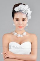 Wholesale White Handmade Crystals Lace Mesh Bandeau Blusher Birdcage Veil With Comb Top Quality Bridal Veil