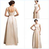 aline bridesmaid dresses - Evening DressesChanpane Sleeveless Open Back scoop Aline Satin Long Prom gowns Hnad Made Flower Party Celebrity Wear Bridesmaid WWL