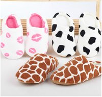 floor pads - Autumn and winter milk cow red coral fleece lovers slippers at home cotton padded floor slippers