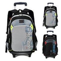 Wholesale Luggage High Quality Waterproof nylon Children School Bags With Wheels Kids Trolley Schoolbag book Bag Wheels Removable Backpack