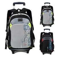 bag trolley wheels - Luggage High Quality Waterproof nylon Children School Bags With Wheels Kids Trolley Schoolbag book Bag Wheels Removable Backpack