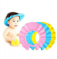 Wholesale baby hair adjustable baby shower cap child shampoo caps kid waterproof protect bath shower shampoo cap baby shower cap bebe