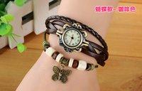 Wholesale New Hot Selling Retro Quartz Fashion Weave Wrap Around Leather Bracelet Bangle Butterfly Women Girls Wrist Watch Mix Colors