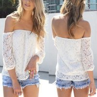 Wholesale New Womens Sexy White Lace Off shoulder Loose shirts Fashion Casual Blouse