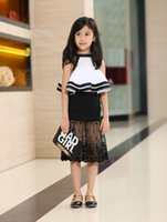 high quality clothes - 2015 Baby Girl Summer Outfits Chic Fashion Outfits Set Sleeveless Shirt Black Lace Skirt High Quality Baby Kid Clothing UA003