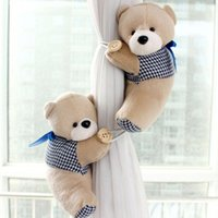 Wholesale New Cute Pair Bear Winne Window Curtain Tieback Buckle Clamp Hook Fastener Just For Better Life