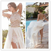 Wholesale Sweetheart Chiffon A Line Wedding Dresses With Side Slit Lace Halter Backless Chapel Train Reception Dresses Bridal Gowns NO