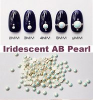 Wholesale 2mm mm Iridescent AB Pearl Flat Back Nail Studs Charming D Nail Art Decoration Korean accessories pack