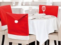 Wholesale New Fashion Santa Clause Red Hat Chair Back Cover Christmas Dinner Table Party Decor For Christmas