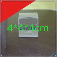 clear plastic gift boxes - DHL Freeshipping x4x4cm Clear PVC favor Packaging boxes transparent plastic gift display package square Box show case