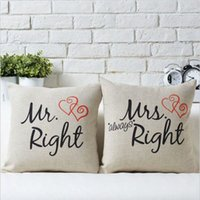 Wholesale 2015 Funny Home Mr Right Mrs Al ways Right Print Cotton Pillow Case Cushion Bed Cover