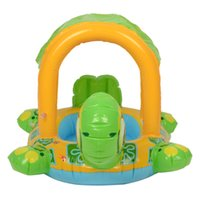 Wholesale ABC New Cute Tortoise Shaped Children Swim Ring with Roof Blue