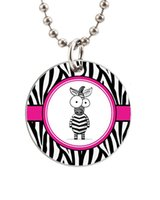 baby dog tags necklace - Funny Baby Zebra Customized Colorful Design round Dog Tag Necklace Aluminum Tag for Animal Pets Tag